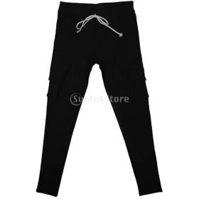レディース 弾性 ペンシルパンツ カジュアル マルチポケット パンツ ロングパンツ ズボン 全4色5サイズ選べる - ブラック, S