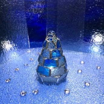 【小さなもみの木ランプ/樹氷ver.】ステンドグラス・ミニランプ(LEDライト付)