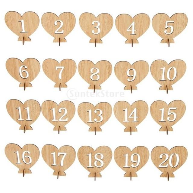 番号1〜20 テーブル番号スタンド フリースタンド 木製 番号札 3種類選べる - 10.5 x 4 x 10.2cm