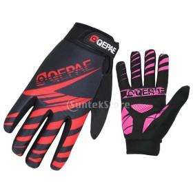 サイクリンググローブ サイクルグローブ 登山手袋 衝撃吸収パット 滑り止め 耐磨耗性 通気性 2色3サイズ選べる - 赤, XL