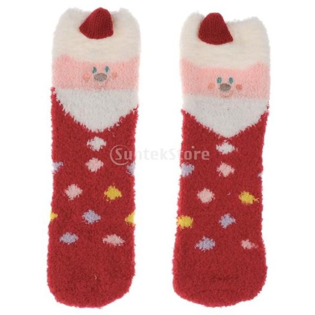 f2a90fc93b049 柔らかい 睡眠靴下 女性 動物 冬 ふわふわ ベッド クリスマス 贈り物 ...