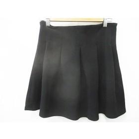 ビッキー VICKY スカート ミニ丈 フリル サイドジッパー ジップアップ ストレッチ  無地 黒 ブラック M