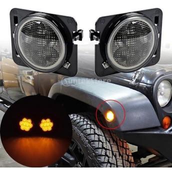 スモークヘッドライト LEDW /サイドライト 07-17ジープラングラーに適用する
