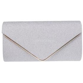 女性 宴会 封筒 クラッチ 財布 チェーンバッグ ハンドバッグ エレガント 贈り物 全3色 - 銀