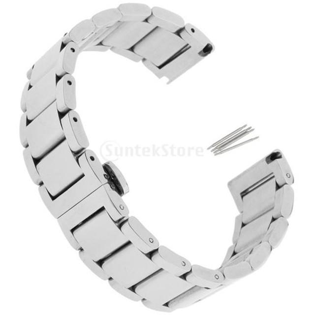 ステンレス ストラップ バンド 腕時計 交換用 留め金 シルバー 全3サイズ  - 22mm