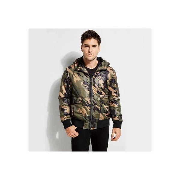 GUESS Mens Long Sleeve Alpine Camo Hood Bomber Jacket