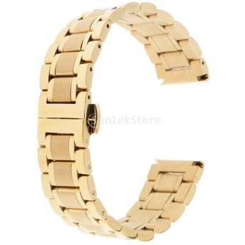 ステンレス 腕時計バンド ストラップ 装飾的 直接交換 修理部品 優雅 快適 全5サイズ ゴールド - 19mm