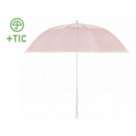 +TIC/プラスチック  PT701 長傘 手開き カラー ライン 全5色 オールプラスチック製 張り替え可能 8本骨 60cm (レッド)
