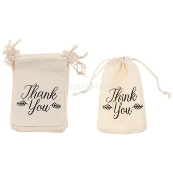 10個 ギフトバッグ 小物入り 収納ポーチ コットン リネン 巾着袋 多機能 収納袋 2タイプ選べる - 感謝Thank you