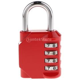南京錠 コンビネーションロック 4桁 組み合わせ パドロック スーツケース コードロック 全4色選択 耐久性 - 赤