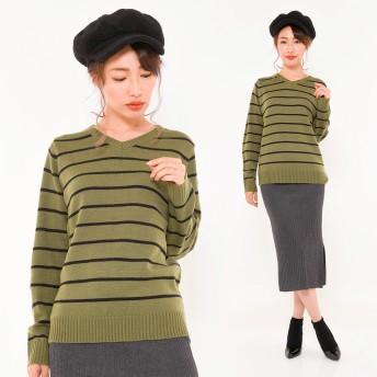 ニット・セーター - CLOTHY ローゲージ 天竺 ボーダー Vネック 長袖 ニット (M/L)