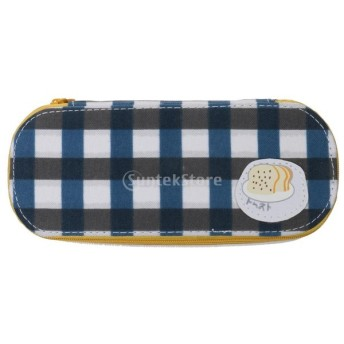 ノーブランド品 青い チェック柄 キャンバス 文房具 鉛筆 ペンケース ポーチ 化粧バッグ アクセサリー