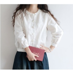 【M】上質リネン小衿シンプルな長袖BL♪