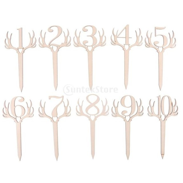 独立した 木製 テーブルナンバースタンド ウェディング パーティ 装飾品 全3デザイン2セット - 1-10, 鹿角