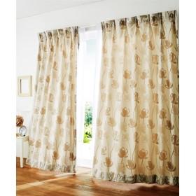 【1cm単位オーダー】フェミニン調フラワー柄カーテン(1枚) ドレープカーテン(遮光あり・なし)