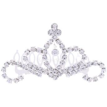 キラキラ クリスタル 王冠のヘアコーム 魅力的 ヘアアクセサリー レディース ガール適用 全2スタイル - #1