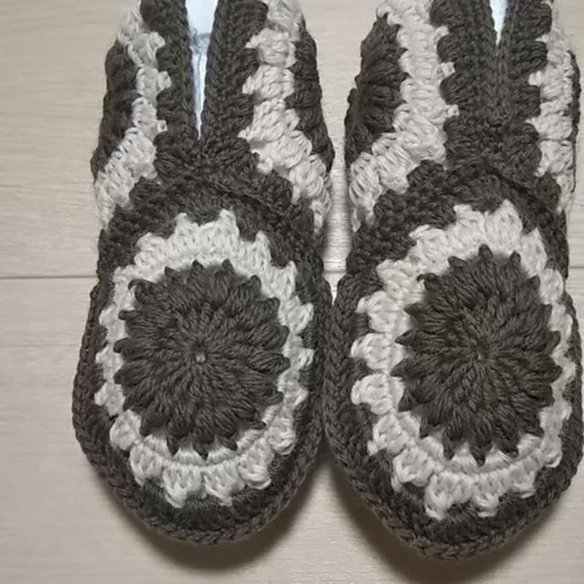 冬支度16暖かい『チョココンビ』手編みフットカバー-ルームカバー-ルームソックス-温活-冷えとり靴下