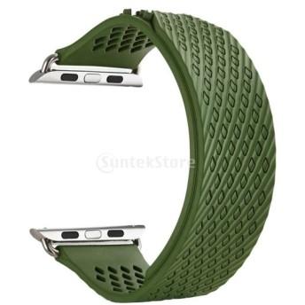 Fenteer Apple Watch 1 2 3専用 時計バンド スポーツ シリコーン リストバンド 高品質全5色2サイズ選択可 38mm&42mm - 緑, 38mm