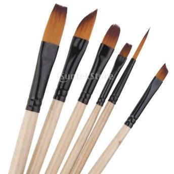 ナイロン製 6サイズ ブラシ 油絵用筆 絵画用 水彩絵筆 画筆 アーティスト d923