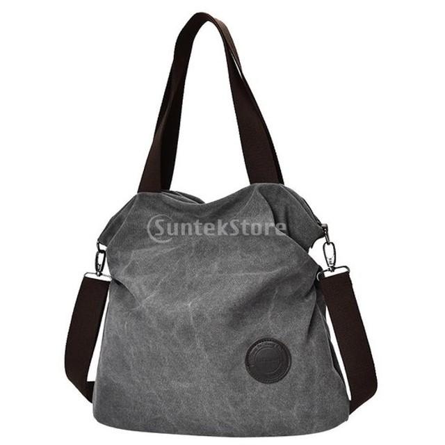 女性 大容量 多層 シンプル ショッピング キャンバス バッグ トートバッグ 鞄 全5色 - グレー