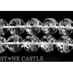 天然石 ビーズ【彫刻ビーズ】水晶 12mm (素彫り) 十二支「午」 (一連売り) パワーストーン