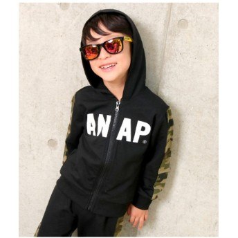 【50%OFF】 アナップキッズ 袖切り替えパーカー レディース ブラック 100 【ANAP KIDS】 【セール開催中】