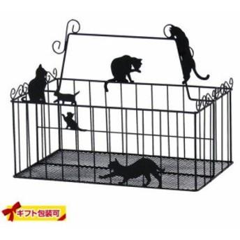 【ラッピング無料!3】コスメバスケット ネコ ネコ AAM-2055 バスケット 黒猫 くろねこ 黒ねこ 雑貨 猫