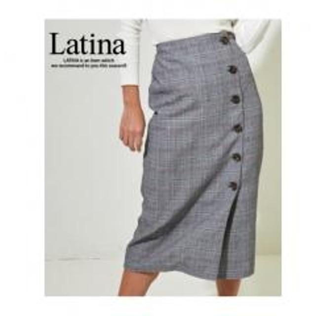 【Latina】グレンチェックタイトラップスカート