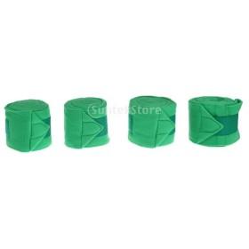 4個 柔らかい 馬レッグラップ 脚保護 ガード ギア  全5色 - 緑