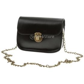 Perfk ショルダーバッグ 女性 レザー チェーンバッグ ミニハンドバッグ 無地 ファッション 全7色選べる - ブラック