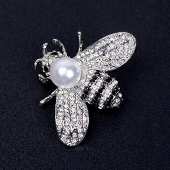クリスタル 人工真珠 合金 蜂デザイン ブローチ 女性 ジュエリー