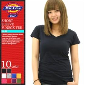 ディッキーズガール Tシャツ 半袖 Vネック 無地 レディース JR830|大きいサイズ USAモデル Dickies Girl|ディッキーズ 半袖Tシャツ