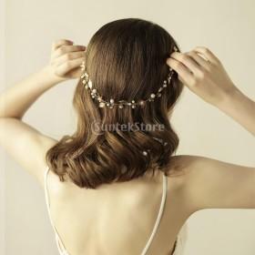 髪飾り エレガント ヘッドバンド ヘアバンド 人工真珠 花嫁ジュエリー 結婚式 ウェディング 花嫁介添人 髪飾り 全9タイプ - ゴールド3