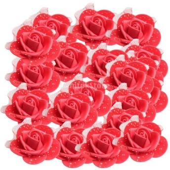 約50個セット 人工造花 花部分のみ 発泡ローズ 可愛い ウェディング 結婚式 パーティー 花ボール作り 10色選択 - レッド