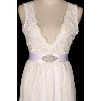 ファッション小物 ベルト 結婚式 ブライダル ホワイト クリスタル パール ビーズ ラインストーン ワンピース