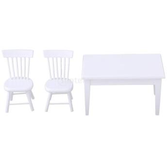 木製 ペットボウル ダイニングテーブル チェアモデル ドールハウス ダイニングルーム家具模型 全2色選ぶ - ホワイト