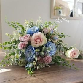 ジェシカローズのナチュラルクラッチブーケ&ブートニアセット ベビーピンクxパステルブルー(造花)