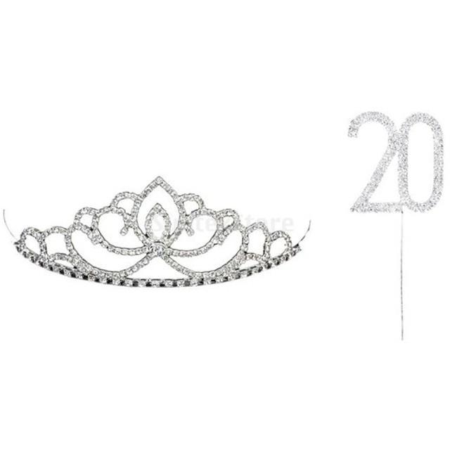 煌き 20デザイン ケーキトッパー & ラインストーン クラウン 20周年 記念日 お祝いパーティー 華麗な 装飾