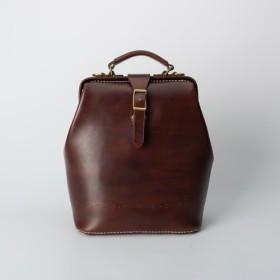 【切線派】がま口 ラックスリュック 本革バッグ手作りのレザーバッグ 手染め / 総手縫い