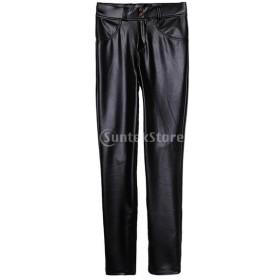 女性 スキニー PUレザー パンツ タイツ  レギンス ズボン 冬 暖かい 高伸縮性  全6サイズ - ブラック, XXXL