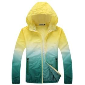 ユニセックス UV対策 日焼け止め 薄手  スポーツ 速乾 アウトドア 登山 釣り ジャケット スキンコート シャツ 全6サイズ4色 - XL, 黄色と緑