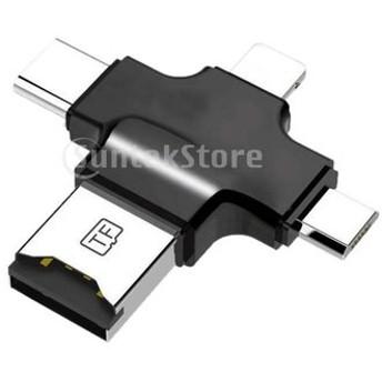 4イン1 マイクロ USB タイプC OTG マイクロ SD TF カードリーダー IOS iPhone Android 対応