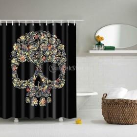 ノーブランド品 防水 ポリエステル 浴室 シャワーカーテン パネル 装飾 フック 26種類選べる - 18