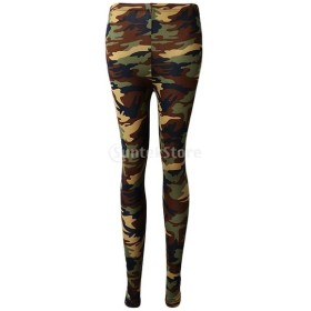 Baosity 女性 レギンス カモフラージュ アーミー プリント ストレッチ パンツ スキニー パンツ 通気性 全3色 - アーミーグリーン