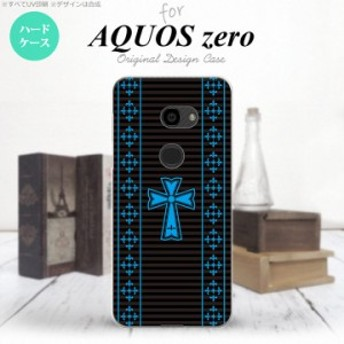 AQUOS zero アクオス ゼロ 801SH スマホケース ハードケース ゴシック 黒×水色 nk-801sh-1009