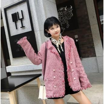 [55555SHOP]春秋レディースアウター 2色 コートカーディガン ロングコート ジャケット ポケット付き カジュアル