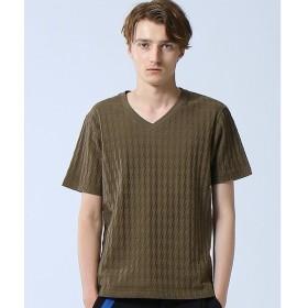 ABAHOUSE / アバハウス 千鳥リンクスジャガードVネックTシャツ