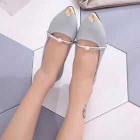 1072643da7bc4 メリージェーンシューズ レディース サブリナ ぺたんこ靴 ポインテッドトゥ靴 パール フラットシューズ