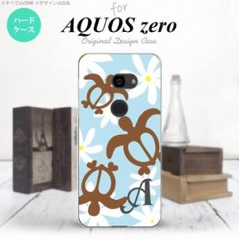 AQUOS zero アクオス ゼロ 801SH スマホケース ハードケース ホヌ ティアレ 水色 イニシャル nk-801sh-1082i
