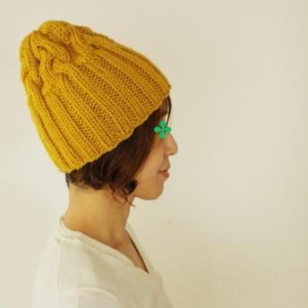 △▲再再販▲△リブ編み多めの、アラン模様のニット帽(ニホンドリ/M・28)